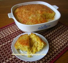 This Cornbread Pudding is a great twist on regular cornbread.  My family loves it. This makes a very light and fluffy cornbread. I can eat it like cake! Serve this with my recipe for Crockpot Three...