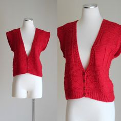 Vintage 80s Red and Black Checkerboard Hand Knit Sweater Vest, $25 ...