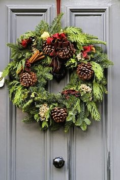 Fresh #Pine ,Cinnamon sticks, Juniper, Pine Cones and Red Bow #Holiday #Wreath