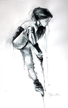 Ballerina art print in black and white for your home decor. Ballerina art by TatyanaIlieva Ballerina Painting, Ballerina Art, Ballet Art, Watercolor Print, Watercolor Paintings, Art Sketches, Art Drawings, Dancer Tattoo, Dance Paintings