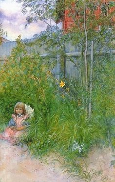 1897 Brita in the Flowerbed pencil and watercolour-Carl Larsson