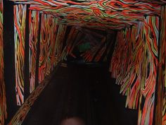 "The ""Crooked Chamber"" in the Haunted House ride at Ocean City, Maryland, is one of Bill Tracy's psychedelic optical illusions. (Courtesy of . Halloween Labyrinth, Halloween Maze, Halloween Circus, Halloween Haunted Houses, Halloween 2015, Halloween Crafts, Halloween Decorations, Haunted Circus, Haunted Maze"