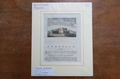 Vintage antiquarian original copperplate engraving, c. 1764, Beaumaris Castle, Anglesey. Vintage antiquarian handcoloured original copperplate engraving for 'England Illustrated'. Mounted in passepartout and wrapped in plastic cover.   https://nemb.ly/p/Hy_N3vnFx Happily published via Nembol