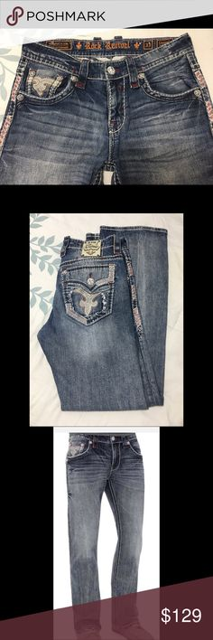 NWOT Rock Revival Slim Boot Cut Jeans NWOT Rock Revival Slim Boot cut Connelly blue jeans from Buckle. Never been worn or washed. Size 33/32. An absolute must have for any wardrobe. Comes from a pet and smoke free home. Please don't hesitate to ask questions. Thank you for stopping by my closet and make sure to check out my other listings and BUNDLE and SAVE!❤️ Rock Revival Jeans Bootcut