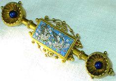 ANTIQUE Italian 18K Solid GOLD MICRO MOSAIC Birds DOVES BROOCH PIN circa 1860's