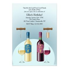 Bottle of Red and White Wine Invitation
