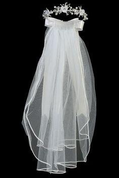 "Rhinestone Tiara w// 24/"" White Communion Veil TL087"