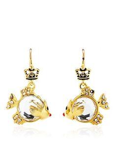 Gemstone Fish Earrings