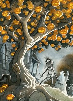 "Illustration by Gris Grimly for the book ""The Halloween Tree"" by Ray Bradbury Retro Halloween, Halloween Kunst, Vintage Halloween Cards, Halloween Artwork, Halloween Painting, Halloween Prints, Halloween Trees, Halloween Pictures, Halloween Horror"
