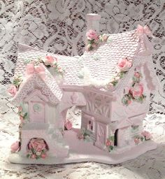 Shabby+Victorian+Chic+Lighted+Christmas+Village+House+w/+Roses+