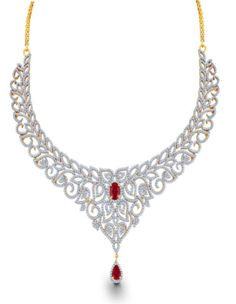 Ruby and Diamond Necklace. Conquer the world when you step out wearing this divine 8 carat diamond necklace with 2.78 carats precious rubies. - See more at: http://www.diamonds4you.com/item/21310020.aspx#sthash.9HBHzT4k.dpuf #diamonds #jewellery #diamondjewellery #necklace #diamondnecklace #onlinejewellery