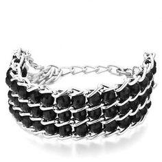 Pugster Chain 3-Row Black Plastic Cement Beads Bracelet - http://www.wonderfulworldofjewelry.com/jewelry/bracelets/strand/pugster-chain-3row-black-plastic-cement-beads-bracelet-com/ - Your First Choice for Jewelry and Jewellery Accessories