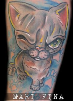 Gatto Tattoo artist: Mari Fina  Categoria: cartoon http://www.subliminaltattoo.it/prodotto.aspx?pid=01-TATTOO&cid=18  #creazycattattoo #gattofurbotattoo #marifina #marifinatattoartist #occhiolino #cartoontattoo #colortattoo #subliminaltattoofamily #tattooartists  #tattoos #tatuaggi
