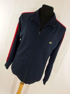 Vintage 80s Izod Lacoste Mens Jacket M Medium Sweatshirt Jacket Embroidered Alligator Logo Navy Blue Red White Stripe J5 by AmazingTasteVintage on Etsy