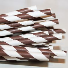 Paper Straws 150 Chocolate Brown Striped Paper Straw Drinks Party
