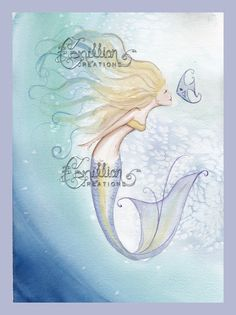 Sweet Good Morning Mermaid and Fish Print from Original Watercolor Painting by Camille Grimshaw