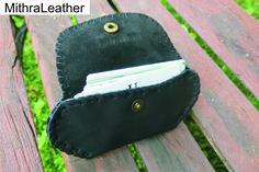 Genuine goat leather card holder attachable to belt