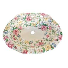 Popular and versatile hand-painted style Chintz design is full of flowers. Shown on a decorative scalloped edge drop-in sink. By decoratedbathroom.com.  #RoseDesign #Roses #BathroomSinks