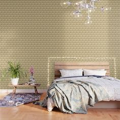 Birds Pattern Olive Green Wallpaper by mirimo
