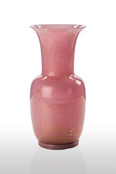 Vaso Venini Opalino rosa opaco foglia oro edizione limitata cm 36.