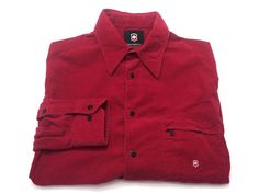 Victorinox Swiss Army L Red Thin Corduroy Cotton Long Sleeve Button Front Shirt #Victorinox #ButtonFront