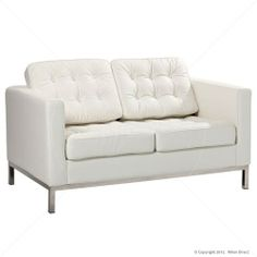 Florence Knoll Replica 2 Seater Sofa - White - Premium Version