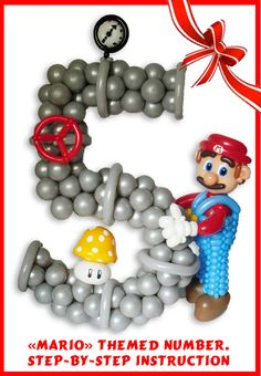 """""""Mario"""" themed balloons number instruction"""