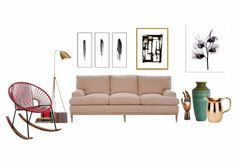 Living space by uana. Create your own interior design moodboard now! Hanging Chair, Living Spaces, Couch, Furniture, Design, Home Decor, Hammock Chair, Settee, Decoration Home