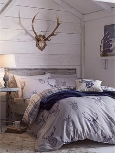 Tesco direct: Catherine Lansfield Home Cosy Corner Stag Bed Cotton Rich Duvet Cover Set King Duvet Cover Sets, Comforter Cover, Duvet Bedding, Comforter Sets, Double Duvet Set, Double Duvet Covers, Single Duvet Cover, Double Quilt, Bed Covers
