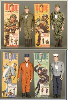 Old G.I. Joes My brother had some. When you pulled off their boots, their feet always came off inside and we would pull them out of the boots with pliers!