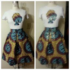 Afro T and Circle of Life pleated BELLE Skirt set by LiLiCreations, $95.00