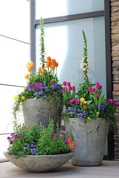 Trio of pots by a front entrance ...Don't forget the power of groupings in odd numbers. While the three lovely cement planters below definitely go together, their differing heights are perfectly alluring, especially since they're filled with beautiful spring blooms. [unknown source via Sweet Parrish Place]