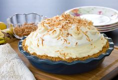 Fluffy Banana Cream Pie •Note: if you use store bought graham cracker pie crust, this becomes a No Bake pie•