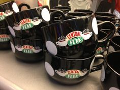 Perfect for that extra-large helping of morning brew, this 20-oz Friends Central Perk Mug features the ''Central Perk'' logo with white polka-dots. It's wide top also leaves plenty of room for dunking your 'sneezemuffins.'