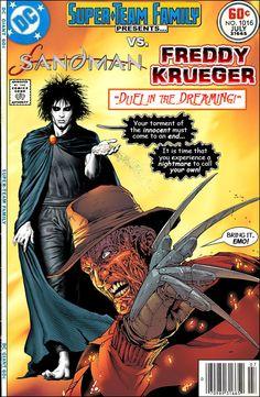 Sandman and freddy Krueger Dc Comics Vs Marvel, Dc Comics Superheroes, Marvel Heroes, Joker Comic, Comic Art, Comic Book Covers, Comic Books, Rock And Roll, All Horror Movies