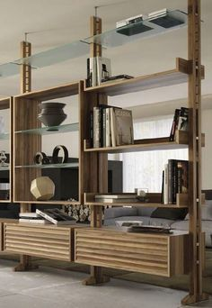 Double-sided divider walnut #bookcase E-110 by Dale Italia