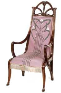 Art nouveau style furniture came to most attention at the Paris Exposition in 1900. In the Exhibition we see the full flowering of naturalistic principles. Motifs are the root of the tree, trunk, branches, leaves and vines twisted into all sorts of shapes.