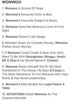 Wonwoo facts, the only facts you'll ever memorize Seventeen Memes, Seventeen Wonwoo, Comedy Movies, Scary Movies, Woozi, Jeonghan, Seventeen Ideal Type, Vernon Hansol, Won Woo