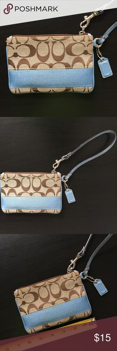 "Coach Wristlet Coach wristlet in light blue & beige/brown. Has Coach tag still attached. Size is approx 5 3/4"" in width and height is approx 4"". I bought it online since I love the colors and design but then realized that is does not fit my iPhone 6 - hence I am reposhing it... so sad 'cause it's so cute!! Coach Bags Clutches & Wristlets"