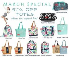 Spring and summer 2017, thirty-one, thirty-one gifts, March specials, totes, bags