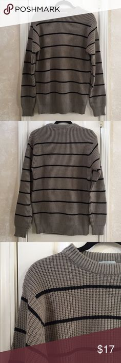 Striped Sweater Gray and black striped sweater. 100% acrylic. Bay Co. San Francisco Sweaters Crewneck