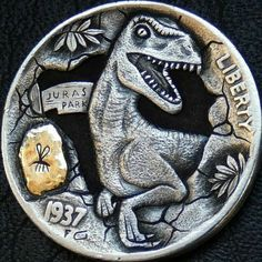 Hobo nickel jurassic life finds a way hand engraved carved 1937 buffalo coin. Artist Gabriele Perticaroli Hobo Nickel, Live Wallpapers, Hand Engraving, Buffalo, Coins, Design Inspiration, Carving, Personalized Items, Artist