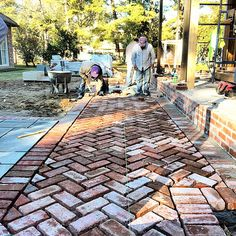 Brick paving in herringbone pattern More