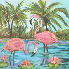 Large Painting Flamingos Tropical Abstract Coastal Landscape 30x30 Original Art Stretched Canvas by Karen Fields