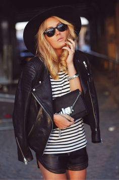 A black leather jacket with black leather shorts - daring, but it works. I think it's the stripes that sells it!