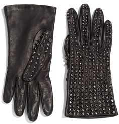 Studded Leather Gloves - Lyst