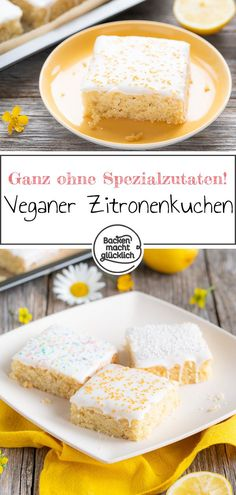 Veganer Zitronenkuchen Fluffy, juicy lemon cake without egg, butter & milk. The recipe for the vegan lemon cake from the tin is super fast and easy. You do not need any special ingredients for this vegan lemon cake. Vegan Lemon Cake, Vegan Cake, Vegan Breakfast Recipes, Vegan Recipes, Cookie Recipes, Dessert Recipes, Drink Recipes, Gateaux Vegan, Baked Eggs
