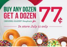 Krispy Kreme: Buy Any Dozen Doughnuts Get One Dozen Glazed Doughnuts for $0.77 (July 11th Only)