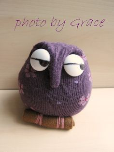 Grace--Owl... #DIY #Sock Sock Dolls, Sock Animals, My Socks, Facebook Sign Up, Owl, Crochet Hats, Beanie, Etsy, Scrappy Quilts