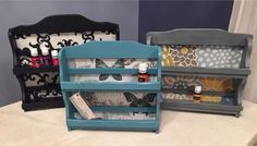 Repurposed spice racks. Chalk painted and fabric added. Upcycled shelf, storage, organizer
